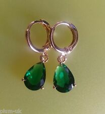 N17 Pear emeralds 18k gold gf huggie hoop & dangle earrings 10x7mm Plum UK BOXED