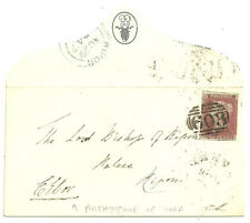 1841 1D RED ENVELOPE SIGNED EBOR BISHOP OF YORK 1847 WITH CREST FROM OXFORD