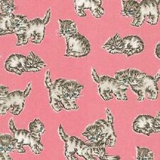 Fat Quarter Whiskers And Tails Cats Kittens On Blush 100% Cotton Quilting Fabric