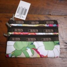 NEW NWT Le SportSac Colorful Floral 3 Zipper Cosmetic Makeup Travel Bag Small