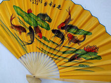 JAPANESE 63cm XL KOI CARP FISH YELLOW WALL HANGING FAN CHINESE NEW YEAR PARTY A2