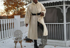 Full Length Vtg Designer Cream blond white cream Mink Fur Coat stroller M 4-10