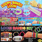 600 Loopy Loom Bands Kit Colourful Rainbow Rubber Bracelet Bandz Making/Refills