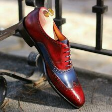 Mens formal casual Leather red blue patina brogue shoes for suit blazer tux BNIB