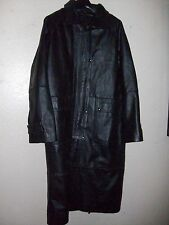 MENS LEATHER WESTERN MOTORCYLE LONG DUSTER COAT/JACKET WITH CAPE, L/XL