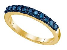 Perfect Style! 100% 10K Yellow Gold & Single Row Blue Diamond Ring Band .33ct
