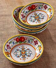 Set of 4 Pasta Serving Bowls Italian Design Colorful Kitchen Table Home Decor