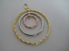 9ct 3 colour gold HOOP pendant FREE FALLING in 3 dimensional design HOT ARRIVAL