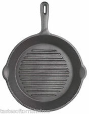 Kitchen Craft Solid Cast Iron Round Ribbed Skillet Griddle Camping Frying Pan