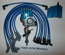 FORD 351W (windsor)  BLUE Small Cap HEI Distributor,BLUE COIL & SPARK PLUG WIRES