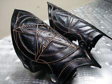 LEATHER BAPHOMET HAND TOOLED GAUNTLETS.BLACK METAL...(MDLG0149) .....BEHEMOTH'S