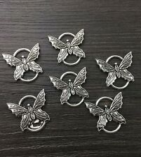 Jewelry Findings,Charms,Pendants,Tibetan Silver Butterfly Connector/6pcs.