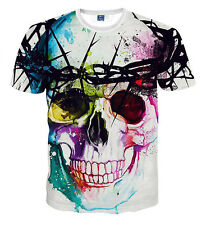 2016 Popular 3D Printed Skull Bone Women Men Funny T Shirt Short Sleeve Tee XXL