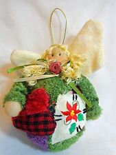 Christmas Angel Ornament Patchwork Plush Crooked Wings Holiday Decor