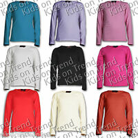 GIRLS Top Long Sleeve T Shirt Plain 100% Cotton Age 7 8 9 10 11 12 13 Yrs NEW