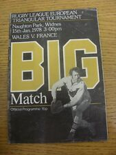 15/01/1978 Rugby League Programme: Wales v France [At Widnes] (creased). Item ap