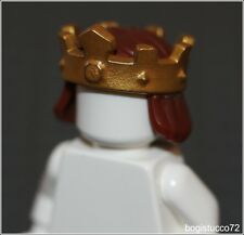 Lego Castle x1 Brown Hair Gold Crown King Prince Queen Knight Boy Minifigure NEW