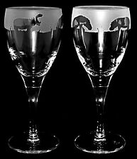 *HIPPO GIFT*  Boxed PAIR WINE GLASS with HIPPO FRIEZE