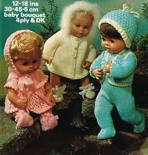 "Dolls clothes knitting pattern.12"", 14, 16 and  18"" doll. (V Doll 45)"