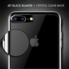Jet Black Bumper with Clear Back Case for iPhone 7 Plus Cover Soft Silicone Gel
