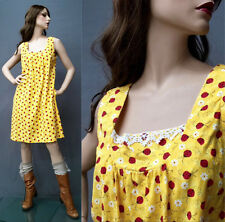 Vintage 70s Lady Bug Dress Yellow Trapeze Pockets Garden Kitsch Hippie Mini OS