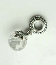 Authentic Pandora Charm Clear Moon & Star Dangle slide Bead 791392CZ w/ Pouch