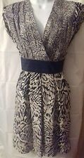 Warehouse size 12 100% SILK black and white dress, worn once