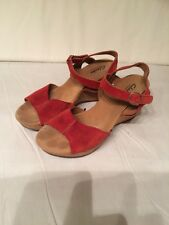 CLARKS Elements Woman's Red Suede Leather Cork Open Toe Ankle Strap Wedges 8.5