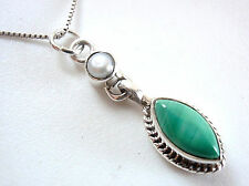 Freshwater Pearl and Malachite Marquise Pendant 925 Sterling Silver New