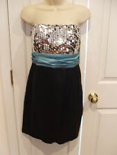 NWT Speechless Black Silver Sequins Strapless Bridesmaid Prom Party Dress siz 13