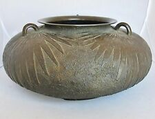 "BIG 16"" Antique Chinese or Japanese Bronze Low Vase with 3 Handles & Marks"