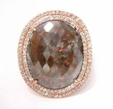 5.75Ct Raw/Rustic Oval Brown Rose Cut Diamond Halo Cocktail Ring 14k Rose Gold
