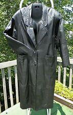 Womens Black Leather Trench Coat Full Length Long Jacket Size Medium Overcoat