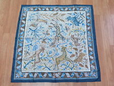 Hermes Paris Scarf 90cm Pavement by Maurice Tranchant Silk Navy Gently Worn