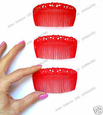 Red Side Hair Comb Curved Veil Comb Slides Flexible Sidecomb Slides Fascinator 3