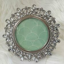"""Windsor photo frame bling rhinestone 4"""" round silver metal tabletop picture"""