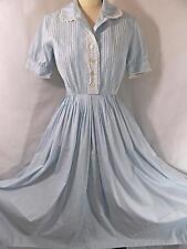 Vtg 1950s A-LINE DRESS~Pale Blue Batiste Cotton w/Lace Trim~Waitress R&K 38B 24W