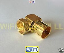 GOLD ANGLE L DVB TV PAL Female Jack to F Type TV Male Plug RF adapter connector