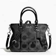 NWT AUTH COACH F20343 ASHLEY DOTTED OP ART MINI TOTE BLACK / SILVER MSRP $278