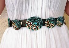 Vintage Native American Concho Belt with Morenci Turquoise, MOP, Coral, Jet, 925