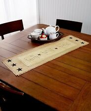 Decorative Burlap Country Kitchen Table Runner Rustic Stars Faith Family Friends