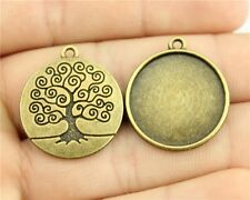 25pcs fit 20mm Cameo Cabochon Antique Bronze Round Base Setting DIY Charms