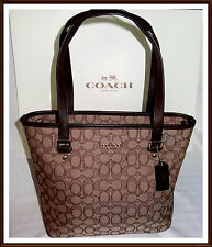 NWT NEW $275 Coach Signature Leather Trim 12 CM Outline Zip Top Tote Bag BROWN