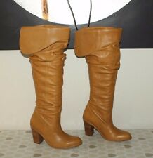 Caramel Leather RAVEL Pull On Wrinkle High Heel Knee High Boots Sz 6 / 39 Pirate