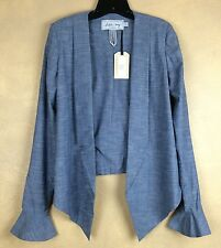 Jacket Katie May Blue Lightweight Cotton Blend Long Sleeve Circular Flounce NWT