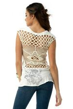 Sky Clothing Brand S Top Ivory Off White Open Back Knit Crochet Lace Spring
