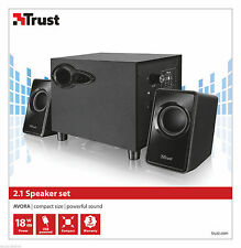 NEW TRUST AVORA 20442 2.1 18W MAX 9W RMS USB POWERED SUBWOOFER + 2X SPEAKER SET