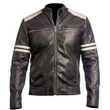 Men's Leather Jacket Black Slim Fit Biker Vintage Cafe Racer Free Shipping
