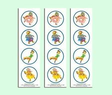 "12 Old Fashioned Victorian Style 2"" Ice Skating Animal Stickers - MINT"