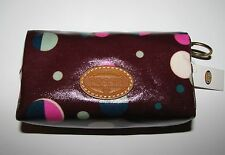 FOSSIL KEYPER SMALL COSMETIC TOTAL ECLIPSE PURPLE COTTON CANVAS PVC BAG POUCH
